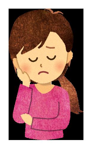 【無料素材】どうしようと悩んでいる女性のイラスト
