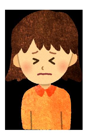 【無料素材】辛い苦しい女の子のイラスト