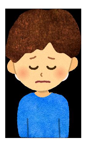 【無料素材】どうしよう悩んでいる男の子のイラスト