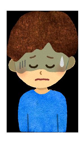 【無料素材】体調不良の男の子のイラスト
