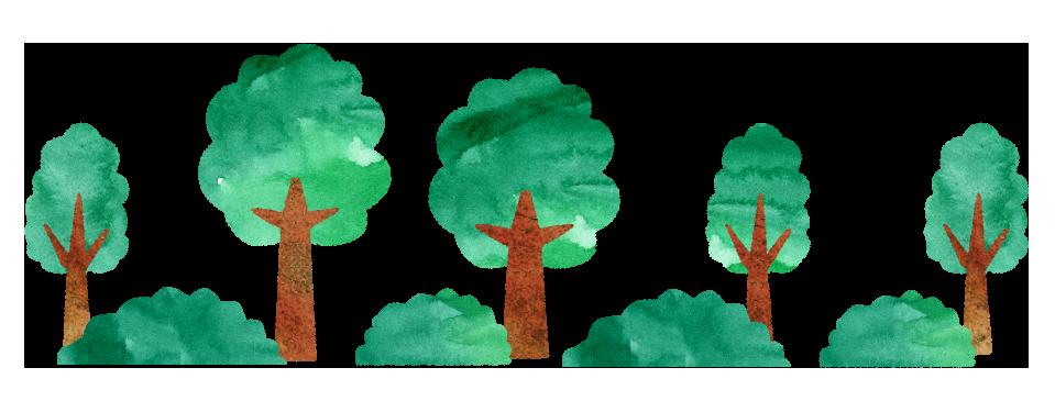 【無料素材】木と草むらの道のイラスト