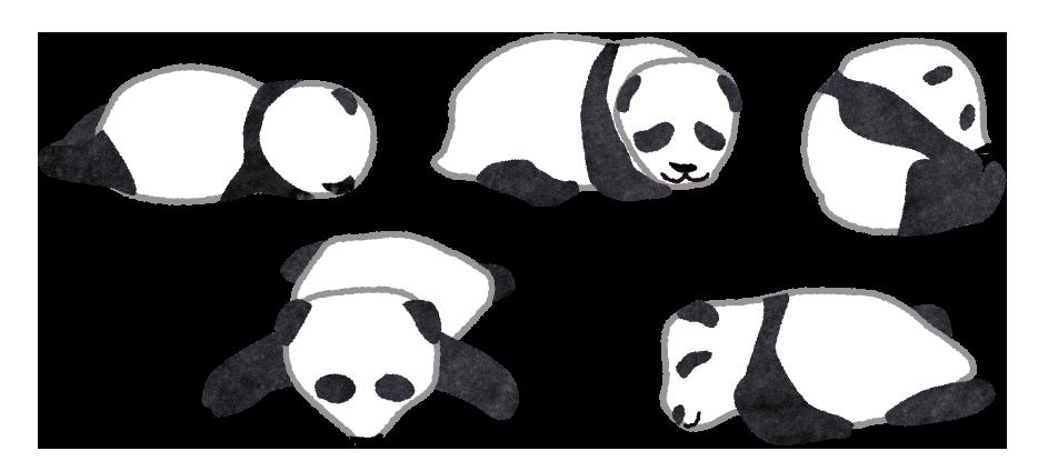 【無料素材】赤ちゃんパンダごろごろのイラスト