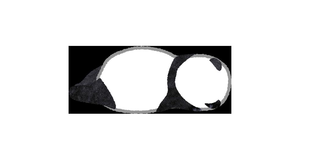 背を向けて寝ているパンダのイラスト
