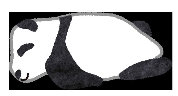 【無料素材】うつ伏せで寝ているパンダのイラスト