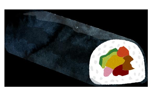 【無料素材】恵方巻き海苔巻きのイラスト