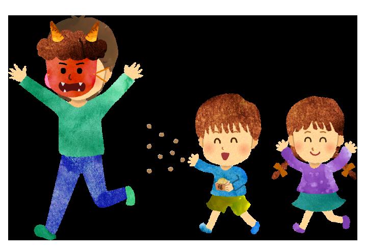 【無料素材】鬼のお面を被ったお父さんに豆を巻く子どものイラスト