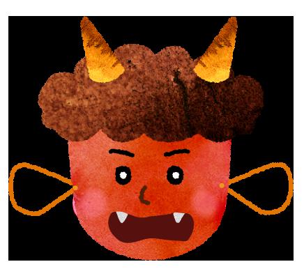 【無料素材】鬼のお面のイラスト