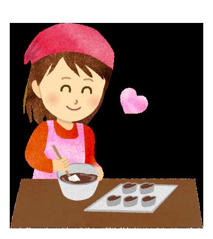 【無料素材】チョコ作りをしている女の子のイラスト