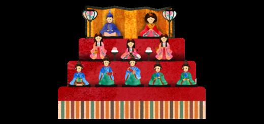 ひな壇に乗る雛人形のイラスト