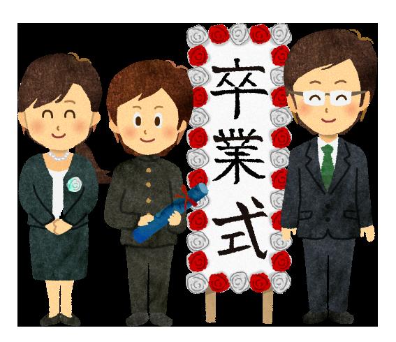 【無料素材】卒業式での男子学生の家族のイラスト