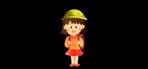 赤いランドセルをしょった女の子のイラスト