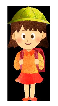 【無料素材】ランドセルを背負う小学生女の子のイラスト