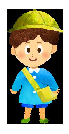 【無料素材】通園カバンを背負った園児のイラスト