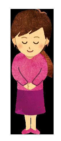 【フリー素材】お辞儀をする女性のイラスト
