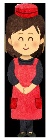 【フリー素材】飲食店のスタッフ女性のイラスト