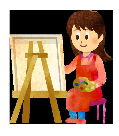 【無料素材】イーゼルで絵を描く女性のイラスト