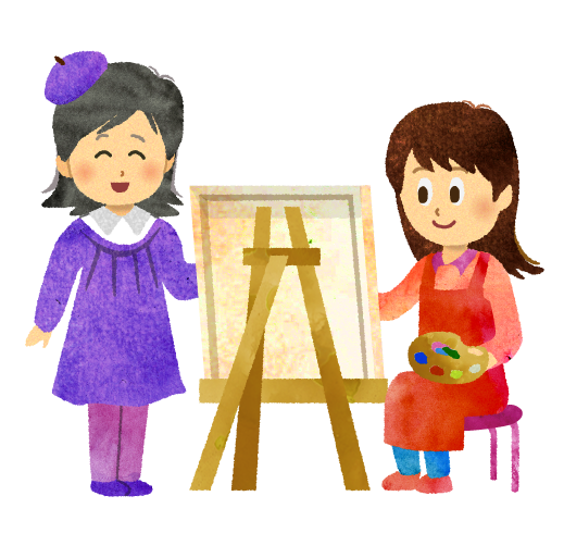 【無料イラスト】絵の先生と生徒のイラスト