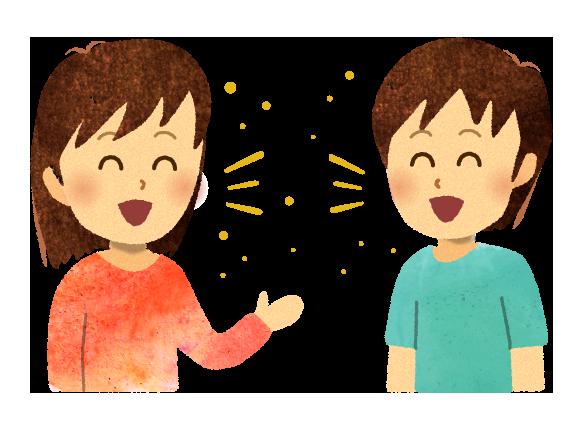 【無料素材】会話で飛沫が飛ぶ様子のイラスト