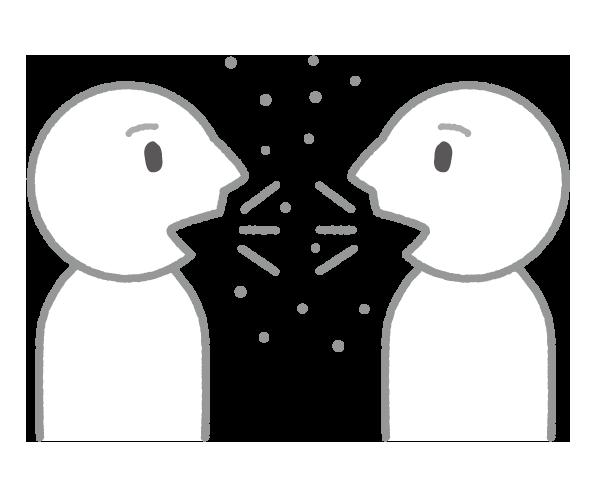【無料素材】感染リスク3密を避ける近距離での会話のイラスト