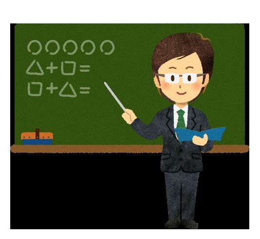 【無料素材】学校の授業をしている教師のイラスト