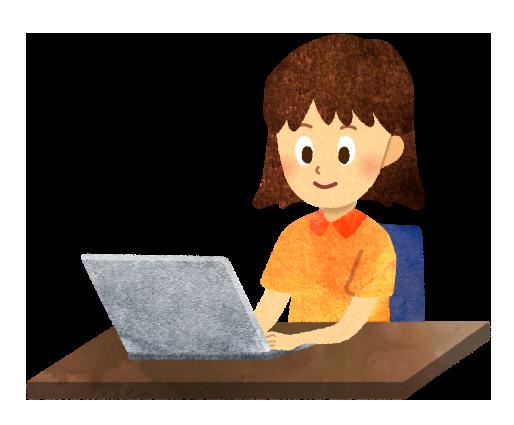 ノートパソコンを使う少女のイラスト