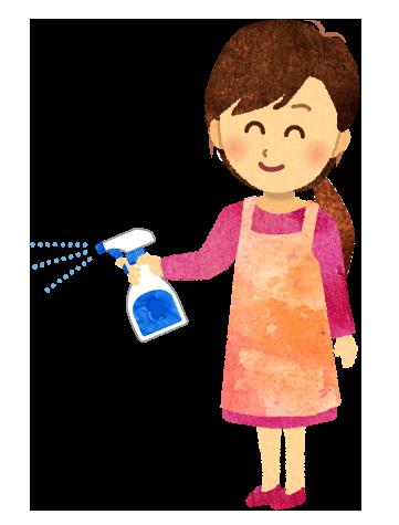 【無料素材】除菌スプレーをかけているお母さんのイラスト