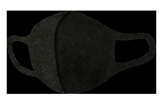 【無料素材】黒のウレタンマスクのイラスト