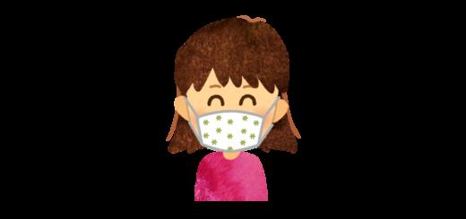 花柄のかわいいマスクを付けた女の子のイラスト