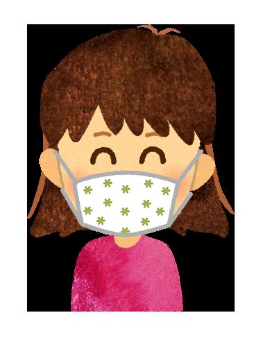 【無料素材】手作りマスクを付けた子どものイラスト