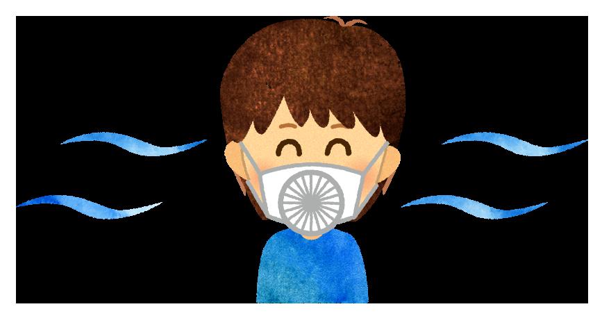【無料素材】ファン付きマスクのイラスト