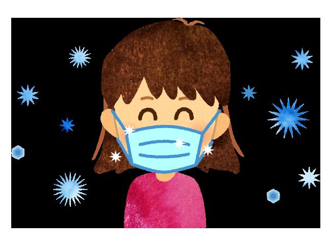 【無料素材】清涼冷感マスクを付けた女の子のイラスト