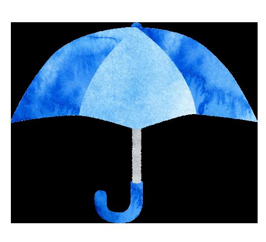 【無料素材】青い傘のイラスト