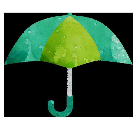 【無料素材】みどりの傘のイラスト