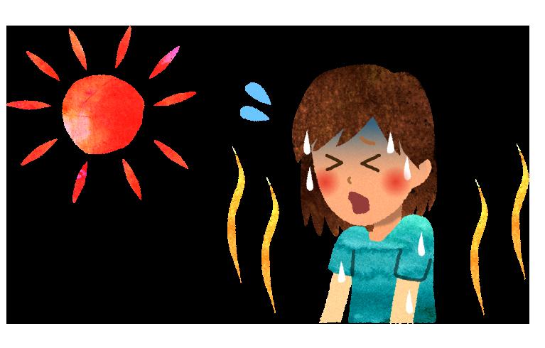 【無料素材】熱中症になっている女の人のイラスト