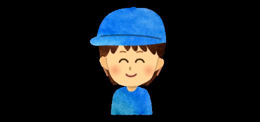 つば付き帽子を被った子供のイラスト