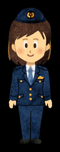 【無料素材】パンツ姿の女性警官のイラスト