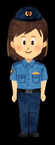 【無料素材】夏服ズボン姿の女性警官のイラスト