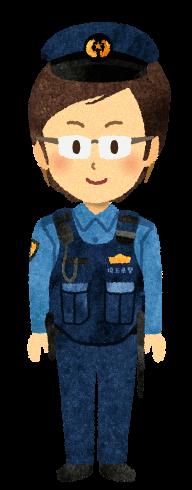 『無料素材』防弾チョッキを着たメガネ警官のイラスト
