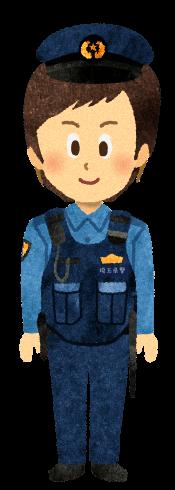 【無料素材】防弾チョッキを着た警察官のイラスト