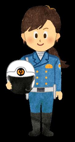 【無料素材】ヘルメットを抱えている女性白バイ隊員のイラスト