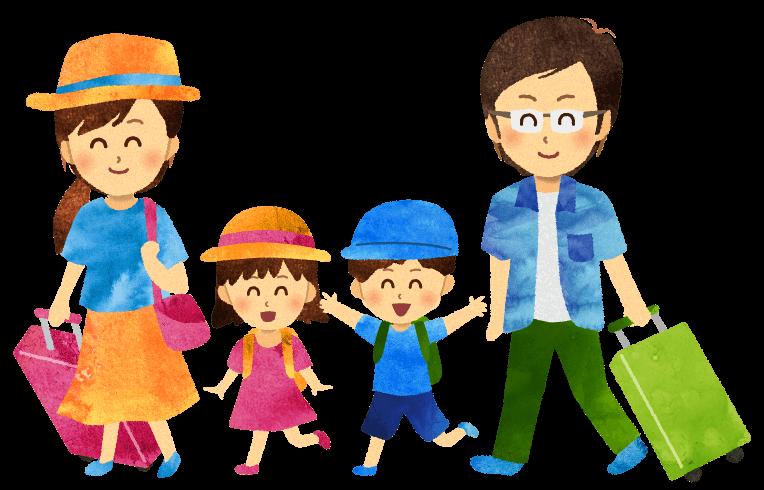 【無料素材】夏に旅行に出かける家族のイラスト