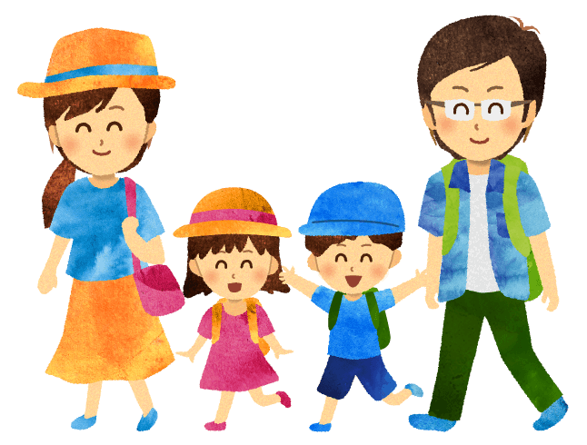 【無料素材】お出かけする家族のイラスト