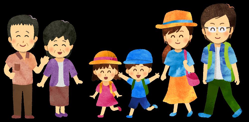 【無料素材】田舎に帰省する家族のイラスト