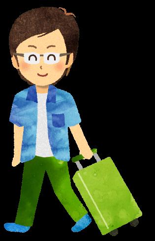 【無料素材】キャリーバックを持ち一人旅をする男性のイラスト