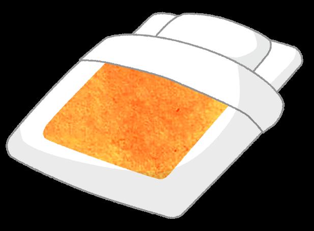 【無料素材】黄色い柄の和布団のイラスト