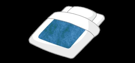 青い柄の旅館のお布団のイラスト