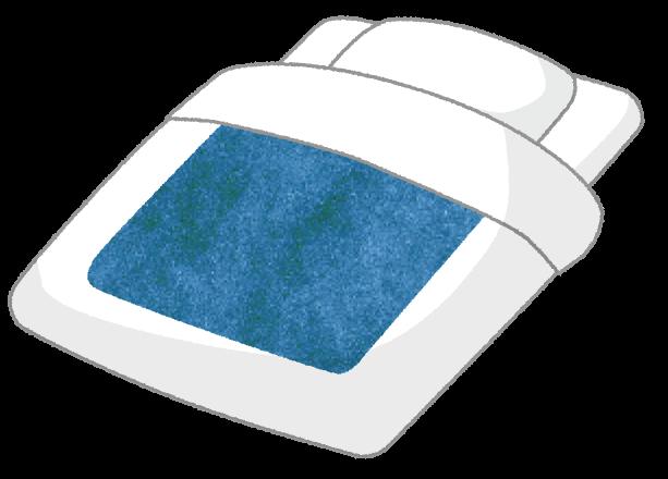 【無料素材】気持ちよさそうな寝心地のお布団のイラスト