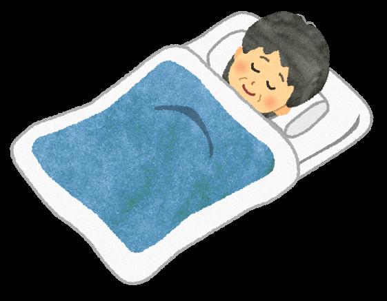 【無料素材】布団で寝ている祖母のイラスト