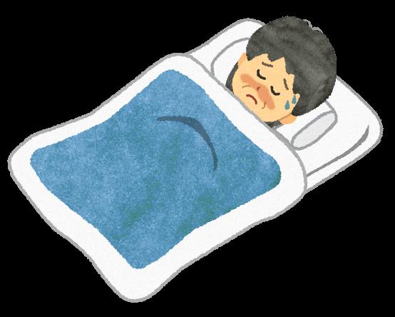 【無料素材】病気で寝ている年配女性のイラスト