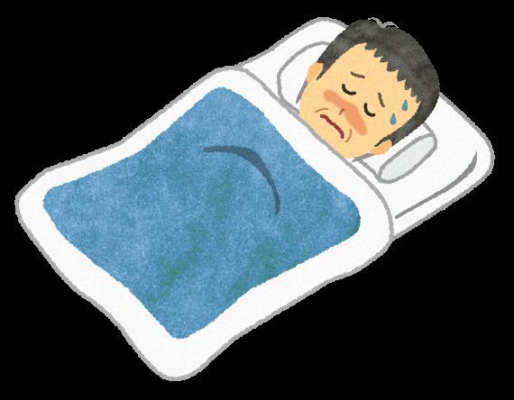 【無料素材】痛くて寝ているおじいさんのイラスト